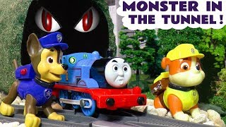Thomas and Friends Trains and Paw Patrol pups find a monster in the tunnel TT4U