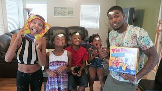 PIE FACE CHALLENGE   MESSY FAMILY EDITION