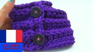 Crocheter soi-même une écharpe avec des boutons / Laine épaisse pour hiver / Facile et rapide