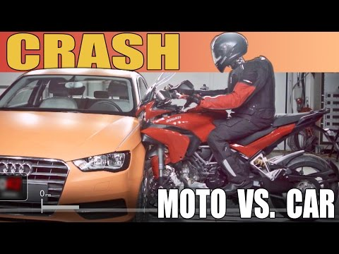Moto vs. Car - CRASH TEST - 2015 Ducati Multistrada vs. Audi A3