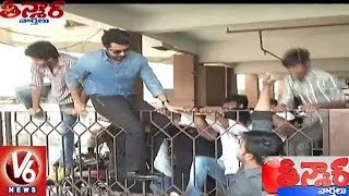 Hero Suriya Jumps Theatre Gate To Escape From Fans in Rajahmundry | Teenmaar News