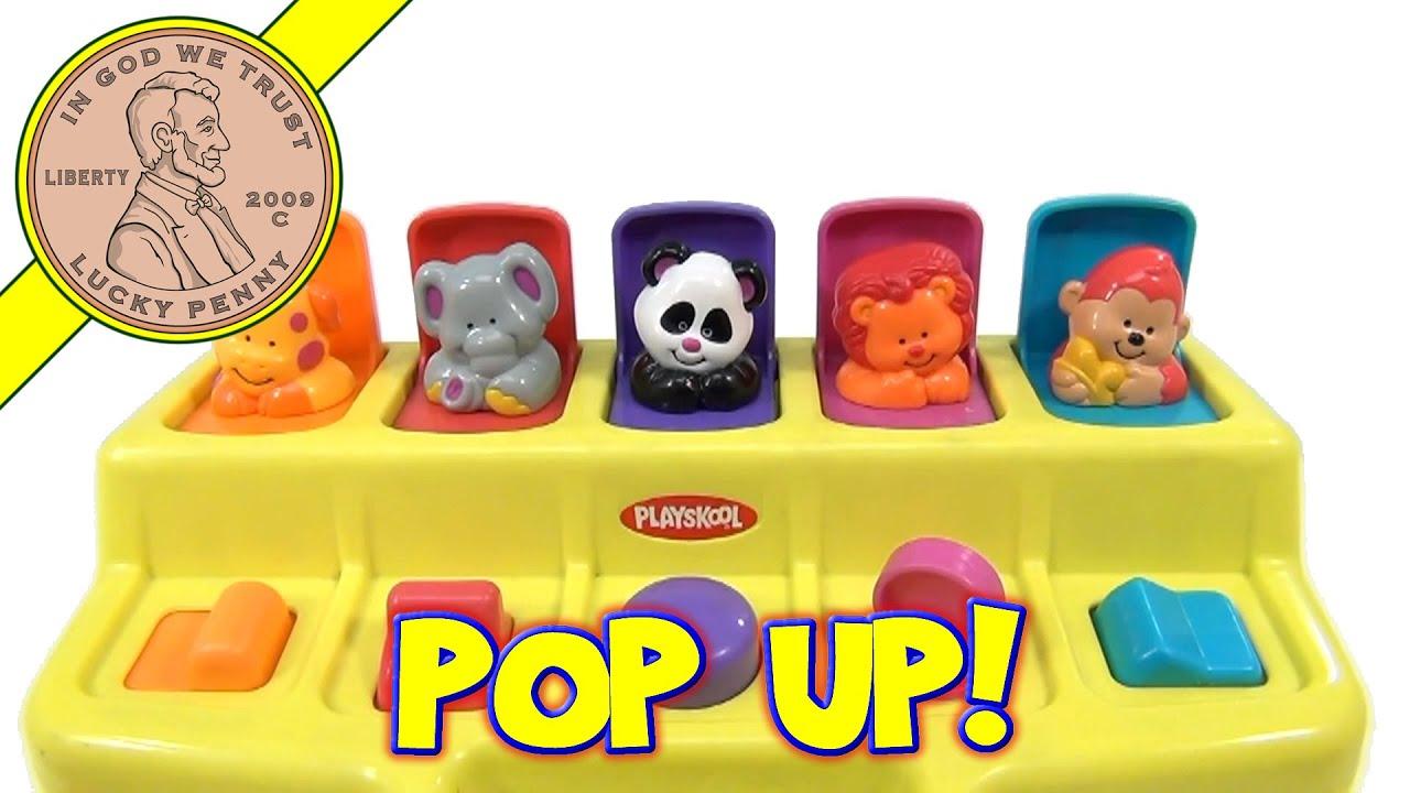 playskool busy basics poppin u0026 39  pals pop ups animals 1995 hasbro toys - yellow base