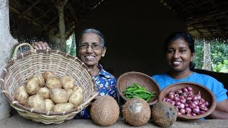 Potato Recipe - Creamy Potato Curry by Grandma & Daughter ❤ Village Life