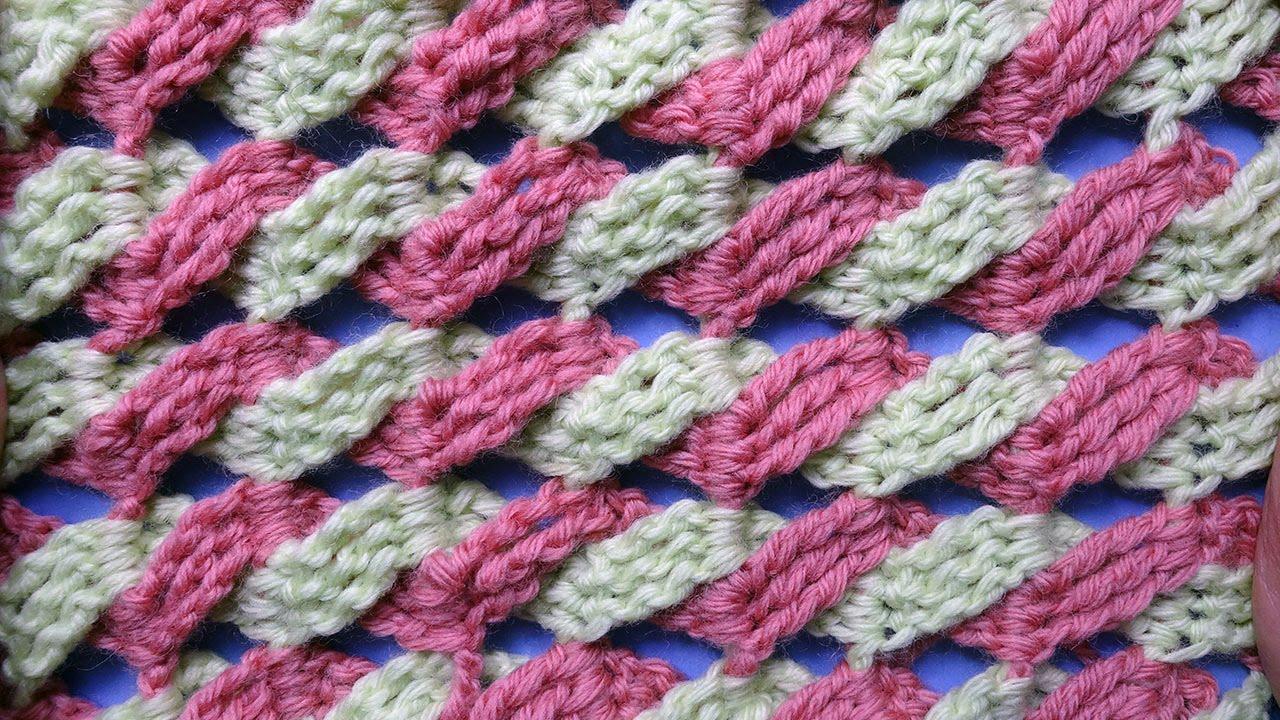Вязание косы из двух цветов 67