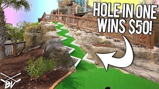 A MINI GOLF HOLE IN ONE HERE WINS $50! - CAN THEY DO IT?!