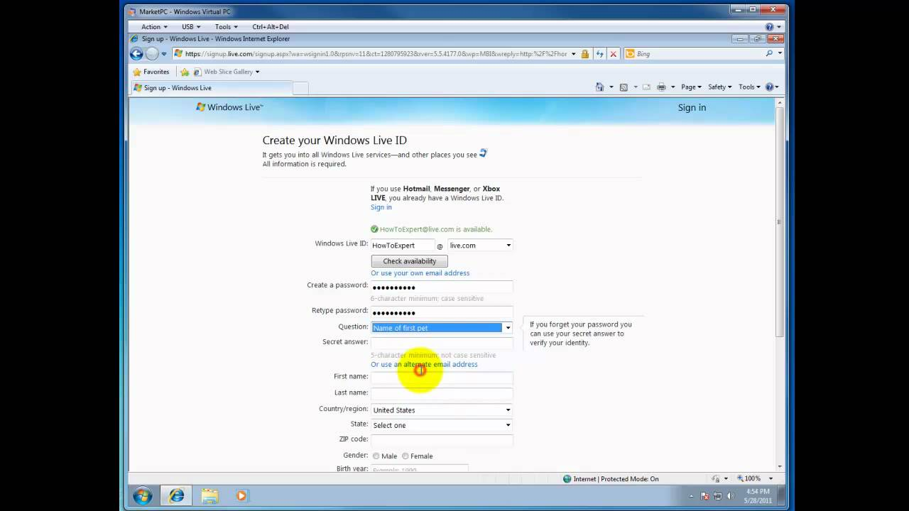 How to create your windows live id youtube for How to design windows