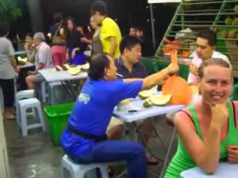 hot sexy vegan girl eating durian in malaysia.mp4