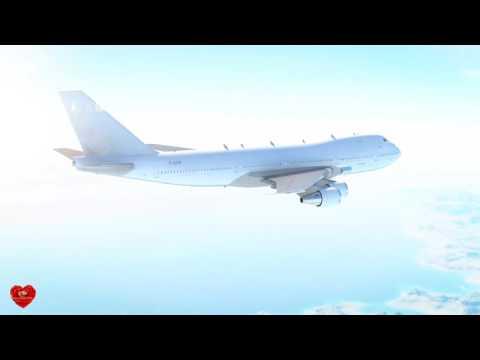 Футаж Самолет летит в небе
