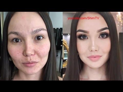 Красивые девушки до и после макияжа
