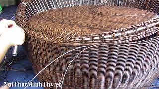Hướng dẫn cách đan ghế trứng cafe nhựa giả mây khung nhôm đan sợi tròn giả mây