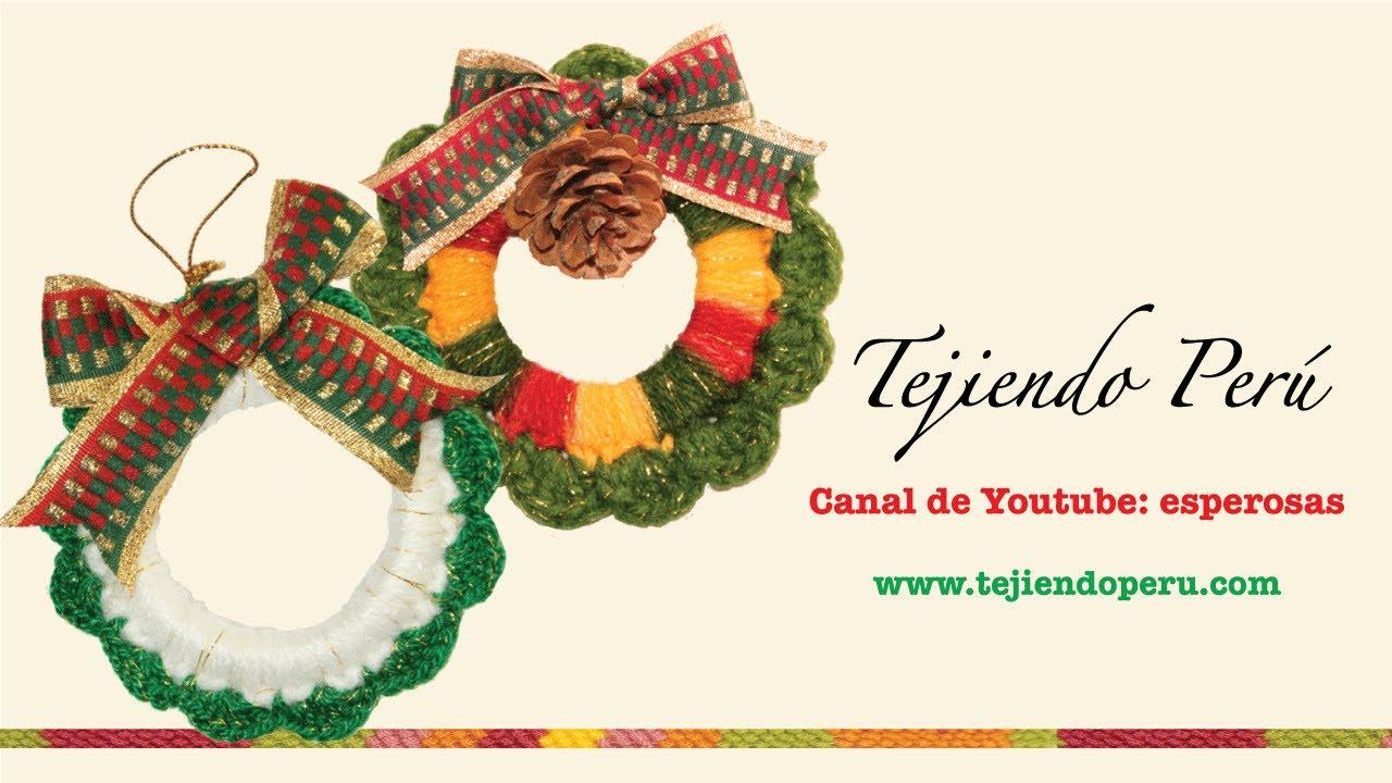 Corona de navidad tejida en crochet youtube - Coronas de navidad ...