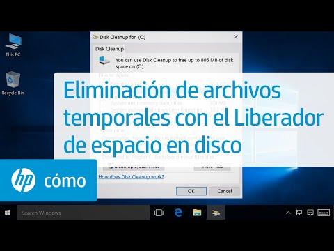 Eliminación de archivos temporales con el Liberador de espacio en disco | HP Computers | HP