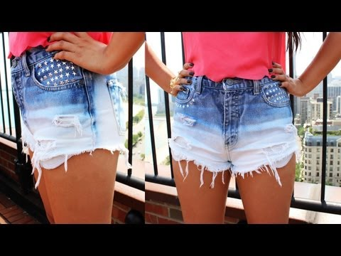 DIY Under $10 :  Ombre Gradient Blue Shorts w Stars Rivets From Old Jeans