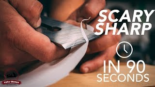 How to Get a Hand Plane Blade Scary Sharp in 90 Seconds - Essential Woodworking Skills