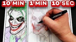 DRAWING THE JOKER in 10 MINUTES, 1 MINUTE & 10 SECONDS!