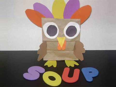 Paper bag craft: How make a colorful Turkey