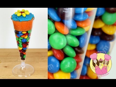 COCKTAIL GLASS TAKE HOME CUPCAKE TREAT with M&M's- candy bar, lolly buffet, birthday party