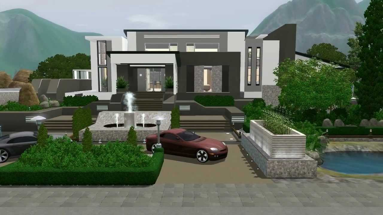 The sims 3 modern mansion no custom content hidden for Modern house mansion