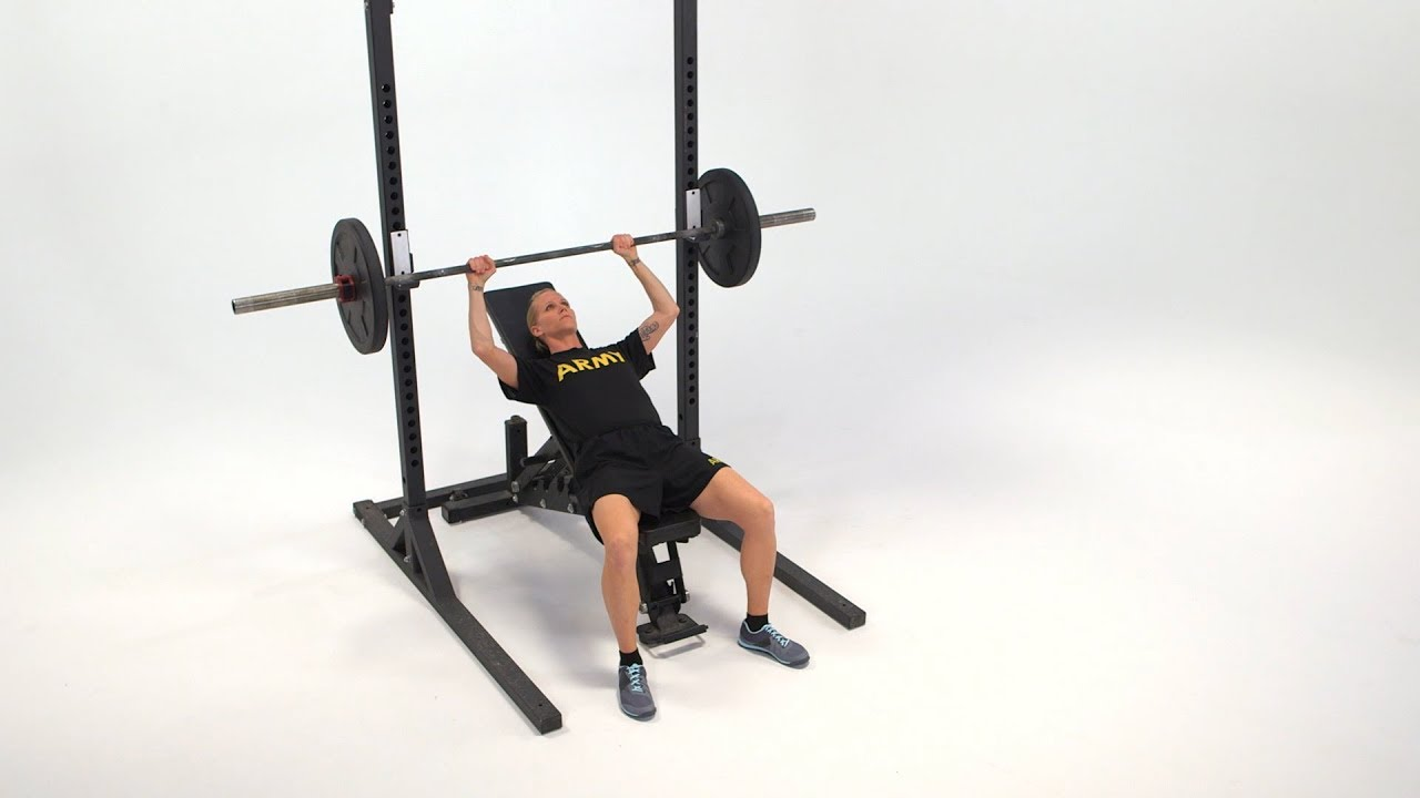The Incline Bench is a free-weight exercise performed throughout a Soldier's career to improve upper body muscular strength and endurance. This lift requires trunk and shoulder stability and strength. It can be used to improve training and testing performance that supports a wide range of combat and occupational physical tasks.  There are a wide range of modifications in position and equipment for the Incline Bench.  Here is a breakdown of the exercise as it would be conducted by an individual Soldier using three types of free weights – straight bar or barbell, kettle bells and dumbbells. #ArmyFit