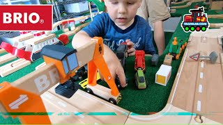 Super Huge BRIO Track! Ferries, Metro Stations, Gantries, oh my! TrainLab fun!
