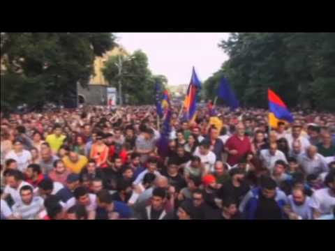 Armenia Protests over Hike in Electricity: Police use water canon to disperse hundreds of protesters