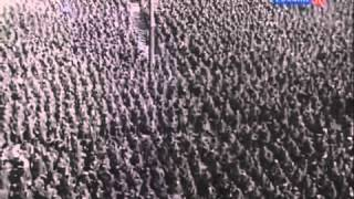 Parade of 60 000 German prisoners of war in the streets of Moscow  Under escort  1944