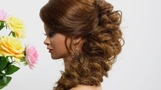 Wedding prom hairstyle for medium long hair. Tutorial