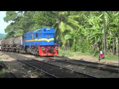 Sri Lanka Railway - Class M10 Diesel Electric Locomotive clagging into Polgahawela Railway Station