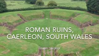 The Ancient Roman Amphitheatre and Barracks, Caerleon, South Wales, c76AD (DJI Spark Drone)