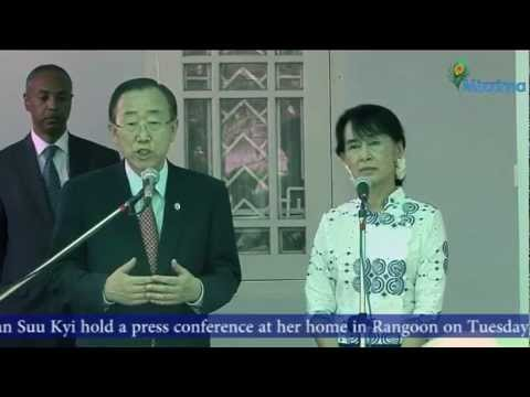 UN Secretary-General Ban Ki-moon and Aung San Suu Kyi hold a press conference at her home in Rangoon