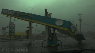 HURRICANE HARVEY Winds & Damage in VICTORIA Texas