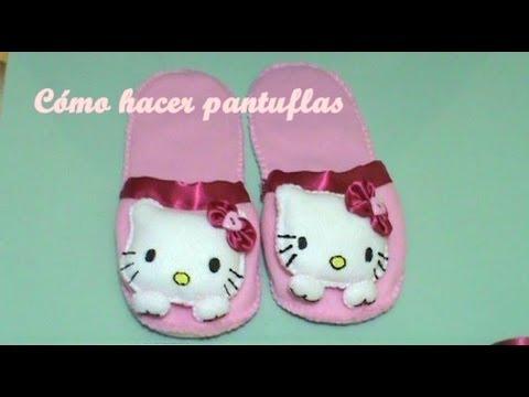 Pantuflas+Llavero Hello Kitty 2/2 (Cómo Hacer Pantuflas)