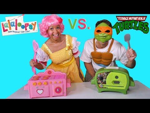 LaLaLoopsy Oven Vs. Ninja Turtles Oven Cake Challenge !    Toy Review    Konas2002