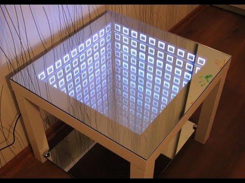 Зеркальный журнальный столик со светодиодной лентой своими руками