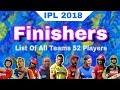 IPL 2018 : List Of All 52 Finishers From All IPL Teams   CSK ,MI ,KKR ,DD ,KXIP ,RR ,RCB ,SRH