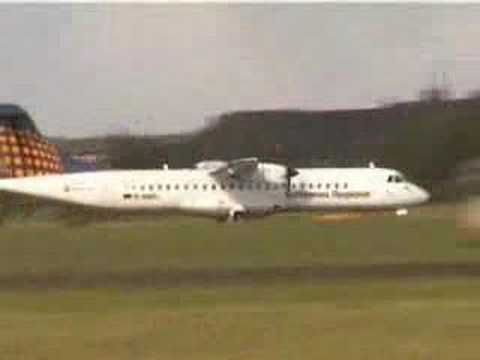 ATR 72 Lufthansa starting at Sylt airport, DE, EU