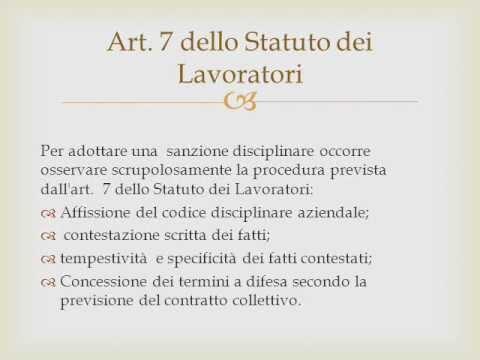 Sanzione disciplinare, art. 7 statuto dei lavoratori