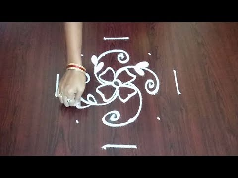 Flowers Rangoli Design 6 x 2 x 2 ||  Latest Easy Flower Muggulu || Fashion World & Rangoli