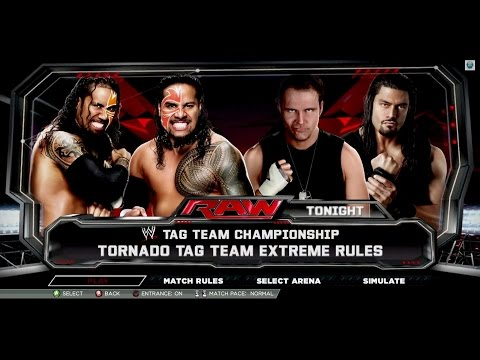 Wwe 2k15 Dean Ambrose & Roman Reigns Vs Jimmy Uso & Jey Uso Tornado Tag Team Extreme Rules video
