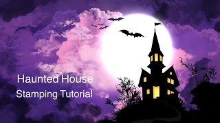 Haunted House Stamping Nail Art Tutorial | Uber Chic Halloween plate | #2