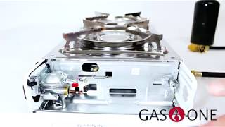 GAS ONE GS-2000 Dual Fuel Portable Propane & Butane Double Stove with NON STICK GRILL Camping
