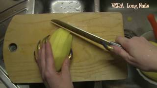 Long nails life hack for girls how to peel vegetables