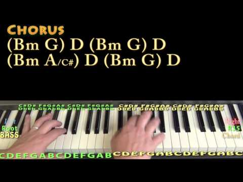 Hide Away (Daya) Piano Lesson Chord Chart - D G Bm A