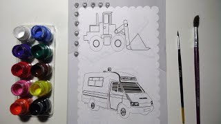 Glitter Dozer and Ambulance coloring and drawing for Kids, Toddlers | Coloring Book Art ☆