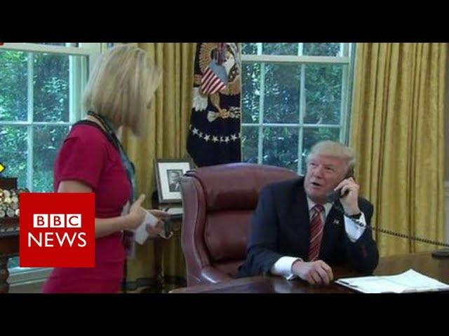 Irish reporter Caitríona Perry's 'bizarre moment' with Trump - BBC News