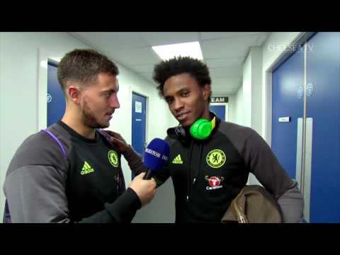 FUNNY!  PLAYERS REACT TO BEAUTIFUL GOALS: Hazard interviews Willian, Costa and Oscar