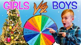 Mystery Wheel Christmas Challenge! Girls vs Boys Christmas Tree Decorating!