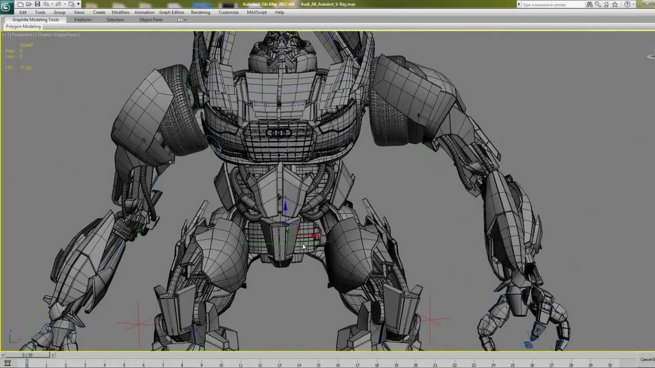 Photoreal Audi A6 Transformer Rigging Test 3ds Max With