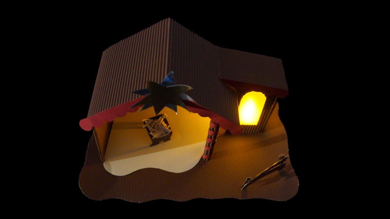Krippe aus papier weihnachtsmotiv bastelanleitung youtube - Beleuchtete kuchenruckwand selber bauen ...
