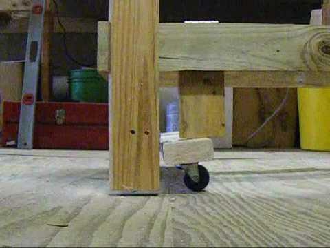 diy workbench retractable wheels